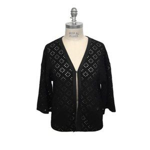 Chanel Lace Knit with Satin Trim Black Sweater